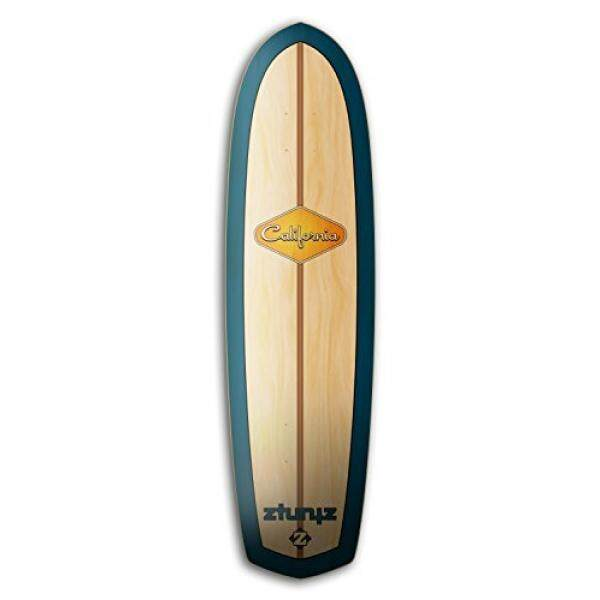 Ztuntz Skateboards California Surf Cross Town Skateboard Deck, Blue/gold/natural By Ahan.