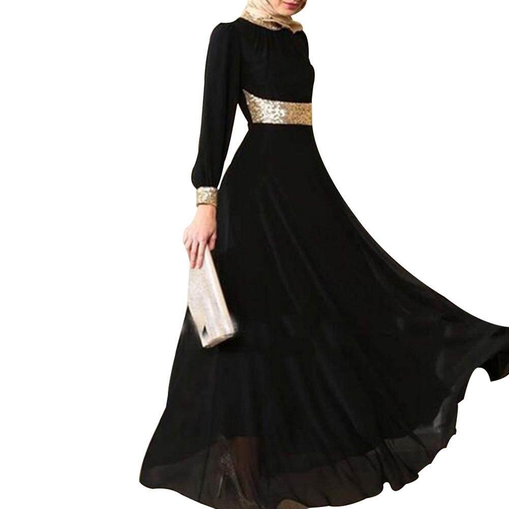 SYS Women Kaftan Abaya Jilbab Islamic Muslim Long Sleeve Maxi Dress