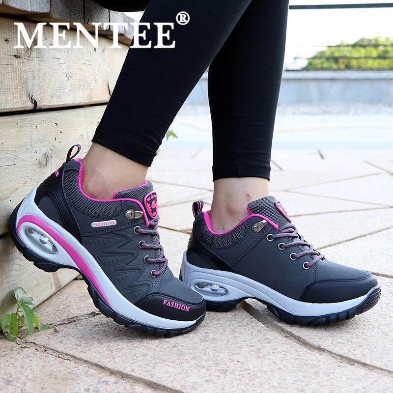 MENTEE Size 35-42 Women s Hiking Shoes Air Cushion Sneakers Heighten Casual  Shoes Outdoor Sports e3b17a2067
