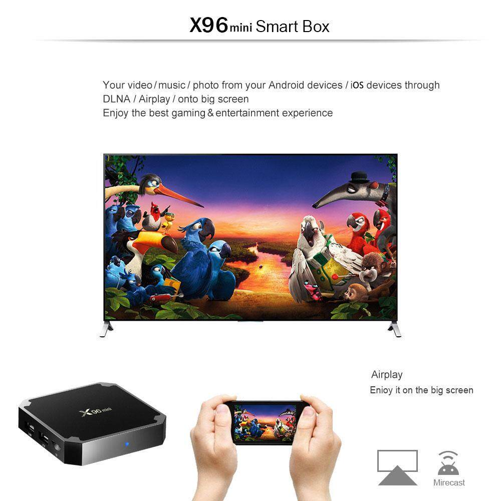 X96mini Android TV Box Digital Player Amlogic S905W Support 2.4GHz WiFi 4K H.265 100M LAN 2GB RAM + 16GB ROM