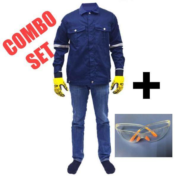 QUEST Safety Reflective Workwear Jacket Navy Blue Size S c/w Safety Glass (COMBO SET)