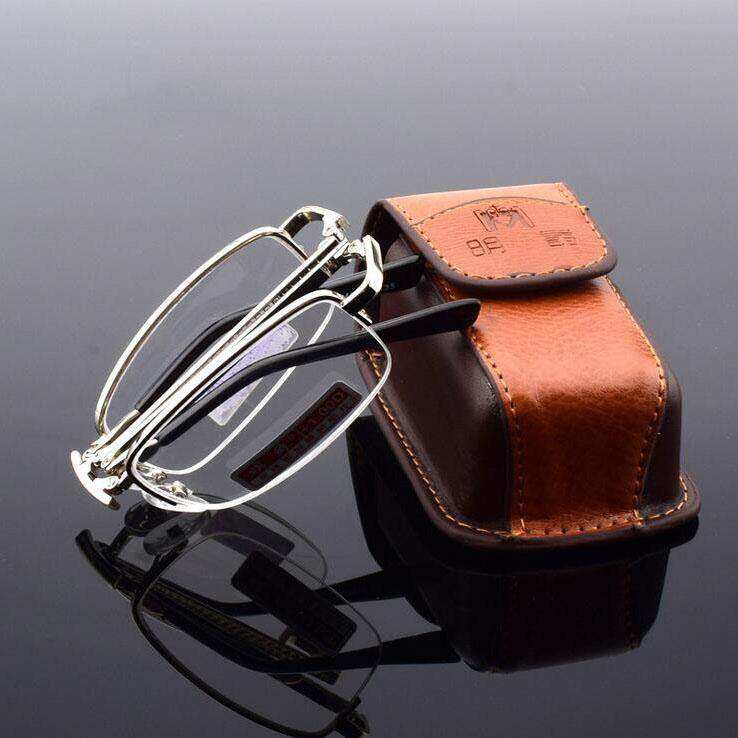 086b6e3617f1 Men Women Metal Compact Folding Reading Glasses Magnifying Fatigue Relief  1.0 with Zip Case Pocket Eyeglasses