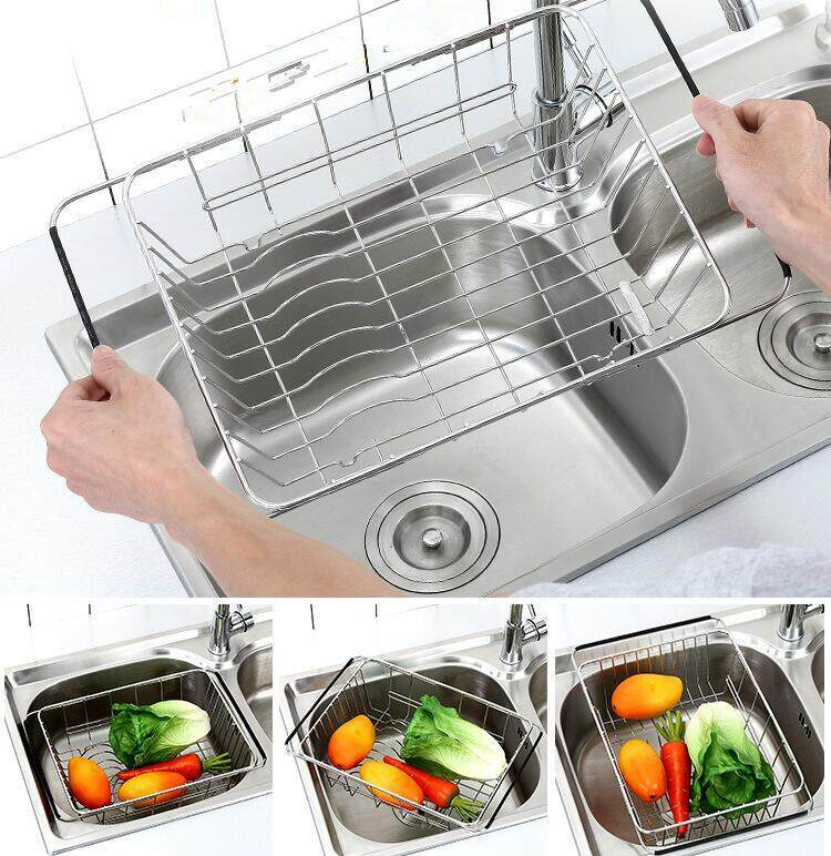 Adjule Dish Drainer Rack Stainless Steel Basket Over The Sink Rustproof Storage Utensil For Kitchen