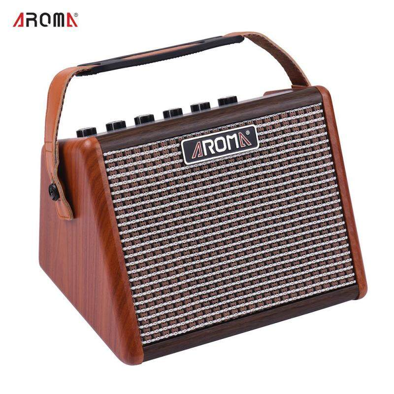 AROMA AG-15A 15W Portable Acoustic Guitar Amplifier Amp BT Speaker Built-in Rechargeable with Microphone Interface Malaysia