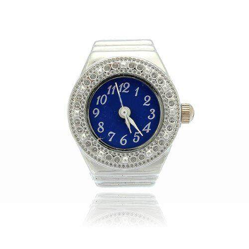 Finger Ring Ring Watch Bezel Quartz Arabic Numeral Silver blue NEW Malaysia