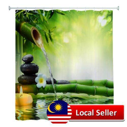 180 X 180CM ZEN WATER BAMBOO 3D PRINTED SHOWER CURTAIN (COLORMIX)