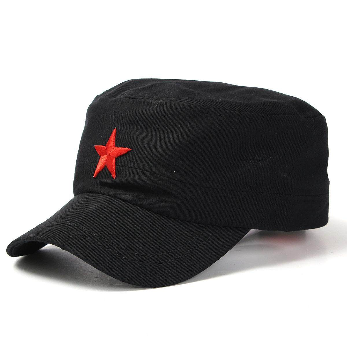 5989226a6b3 Vintage Army Cadet Military Cap Men Women Adjustable Red Star Cotton Hat  Unisex