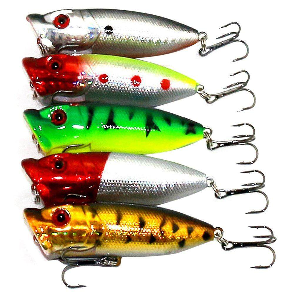 5x Popper Minnow Freshwater Fishing Lures Bass Bait Tackle