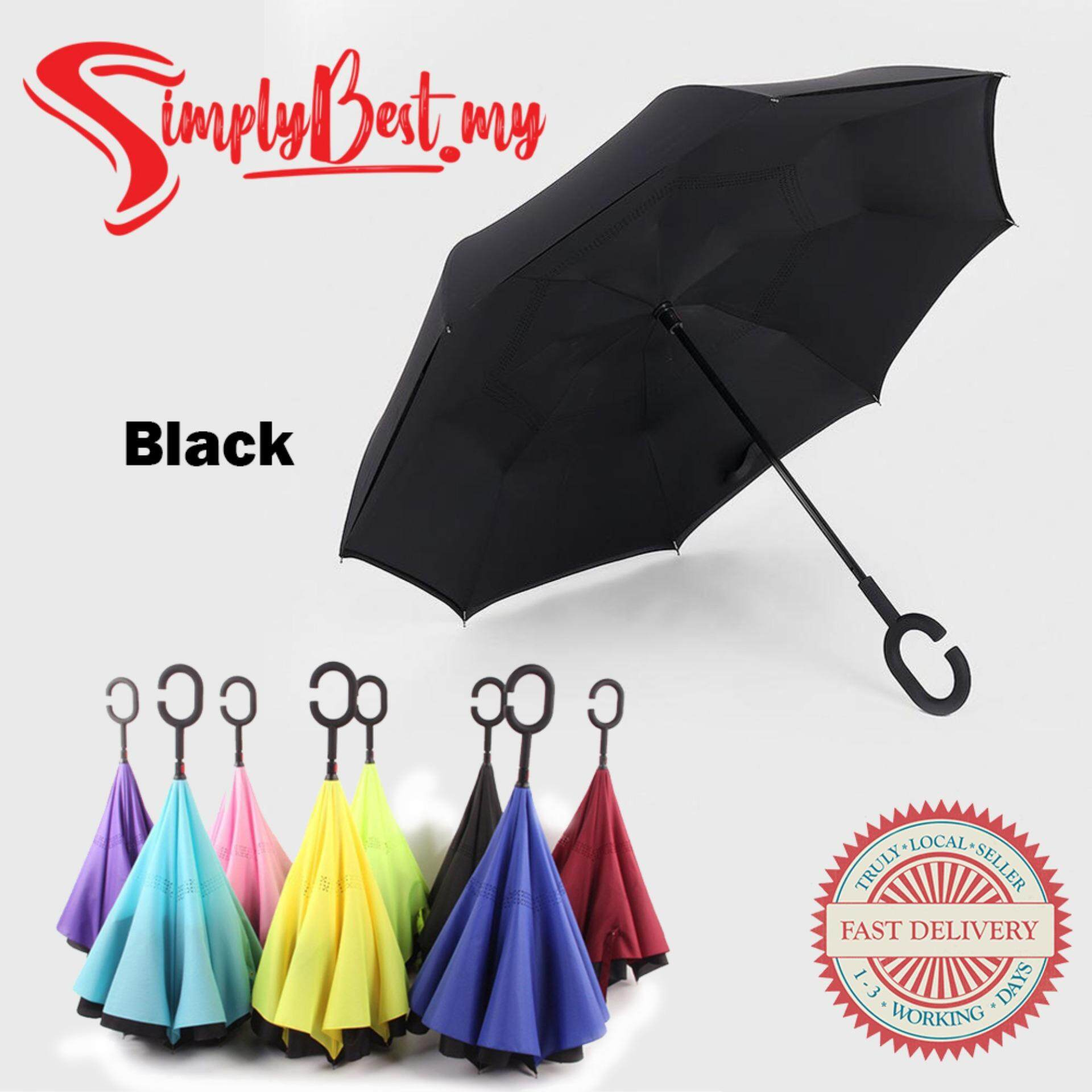 SIMPLYBEST Inverted Reverse Upside Down Umbrella Double Layers C Type Handle Windproof