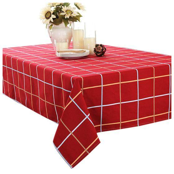 European Clical Canvas Cloth Table Coffee Lattice Series Home Red