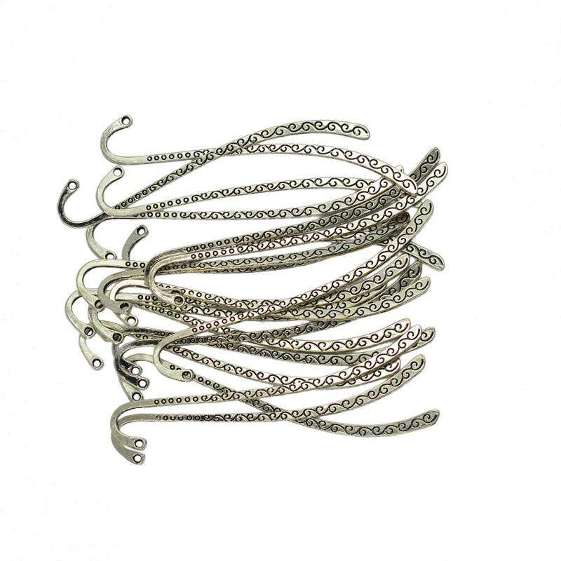 BolehDeals 40 Pieces Beautiful Metal Bookmark Charms Beads for Jewelry Findings 87x13mm Malaysia