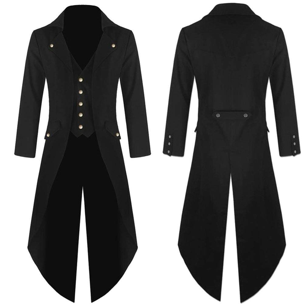 Aiipstore Mens Coat Tailcoat Jacket Gothic Frock Coat Uniform Costume Praty Outwear By Aiipstore.