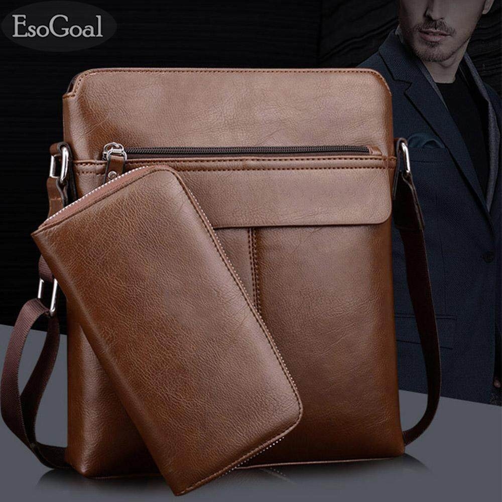 EsoGoal Men s Shoulder Bag Vintage Leather Briefcase Messenger Bags  Business Handbags with Wallet 65878ea308