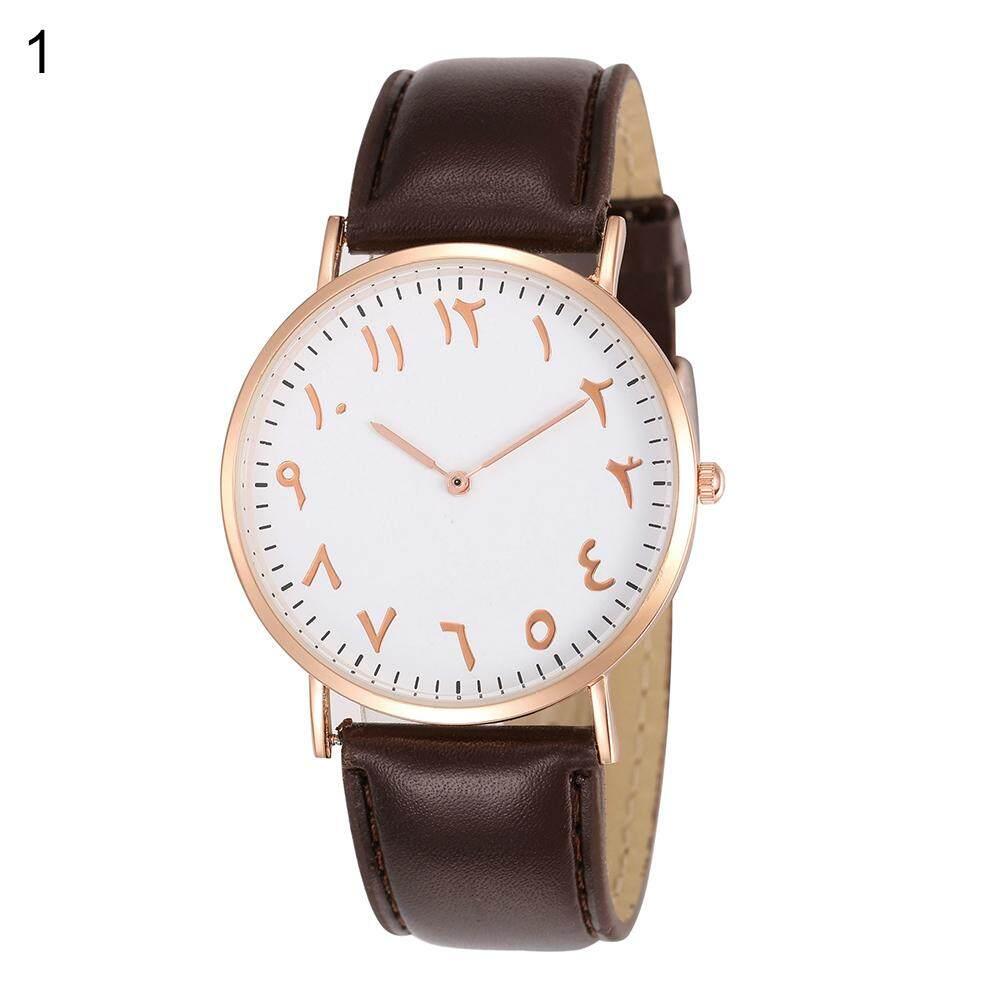Phoenix B2C Fashion Arabic Analog Round Dial Men Women Quartz Faux Leather Band Wrist Watch (Black + Golden) Malaysia