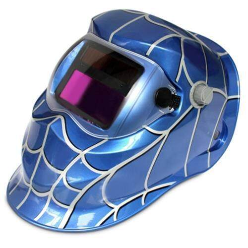 COBWEB DESIGN AUTOMATIC VARIABLE LIGHT ELECTRIC WELDING PROTECTIVE MASK (BLUE)