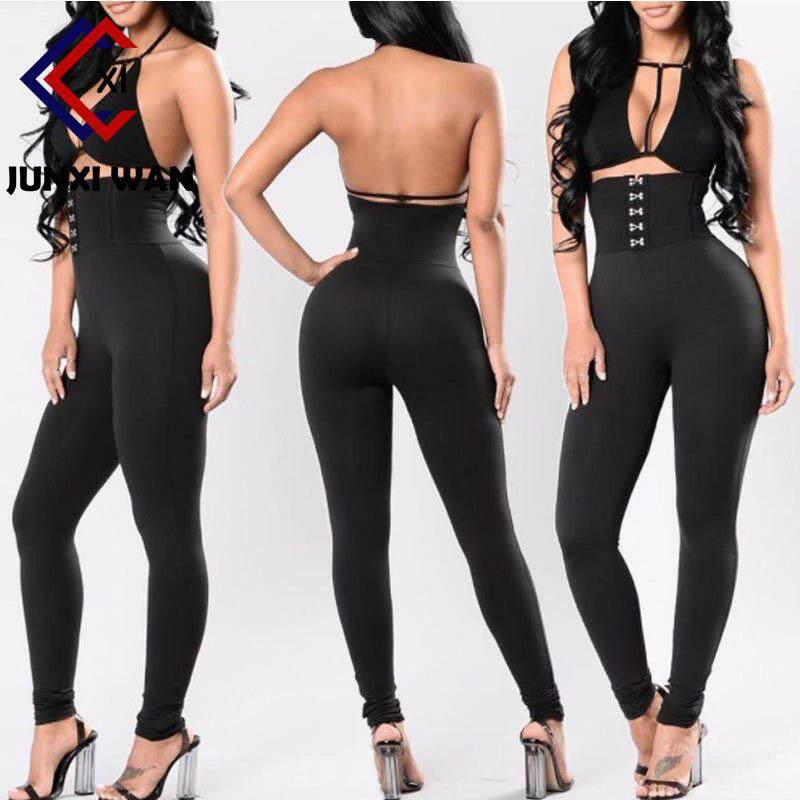 Women Black Hook High Waist Cincher Leggings Full Length Skinny Trousers Sexy Butt Lifting Pants Wa0106 By Hee Fly.