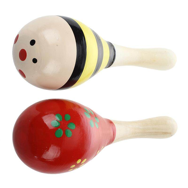 2 X Wood Maracas Musical Instrument Toy For Kids By Happyang.