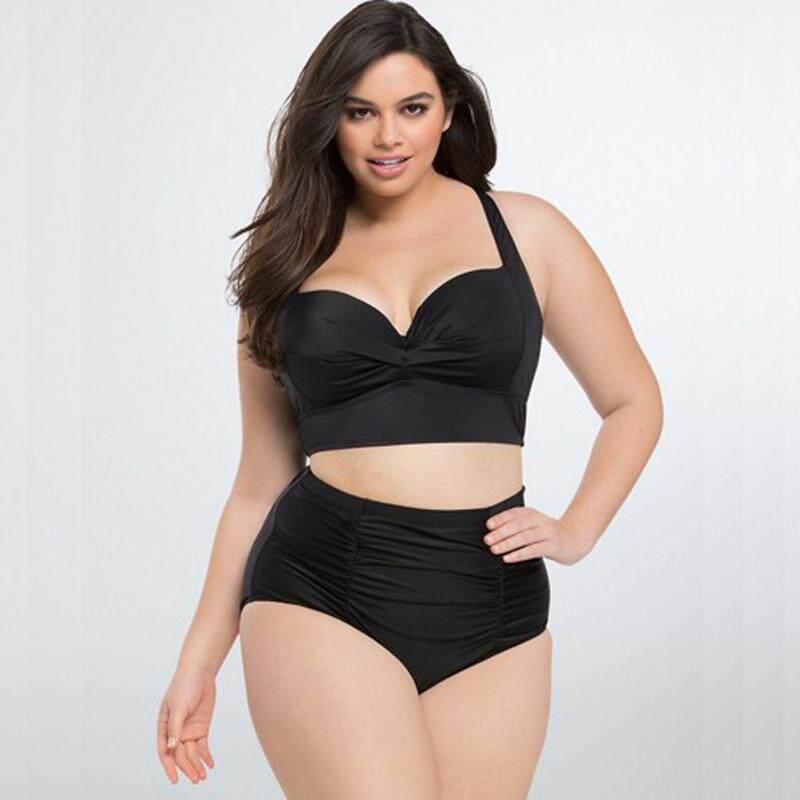 69ff86b091322 High Waist Swimsuit Plus Size Swimwear Women Fat Push Up Bikini Set L-5XL