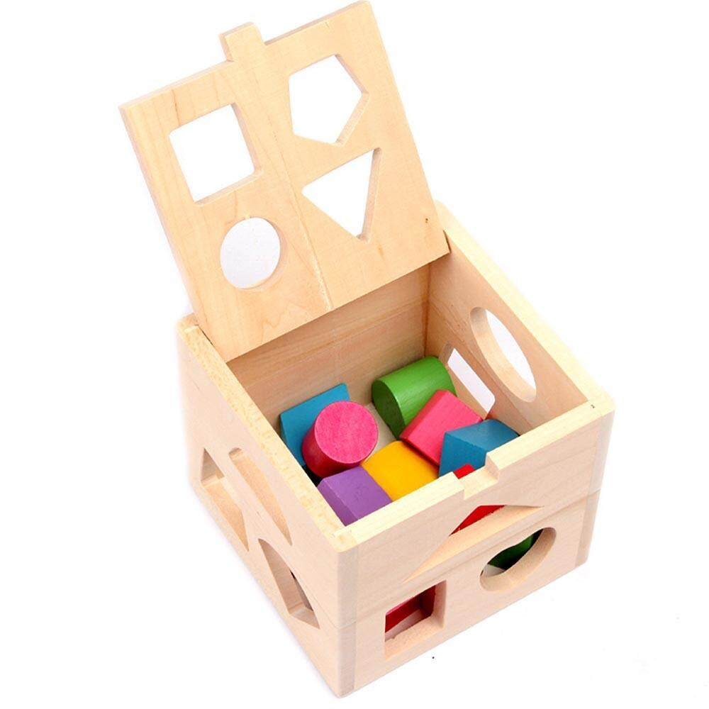 MagicCube Wood Geometric Square Shape Sorter Cube,Color Recognition Intelligence Matching Wooden Toys