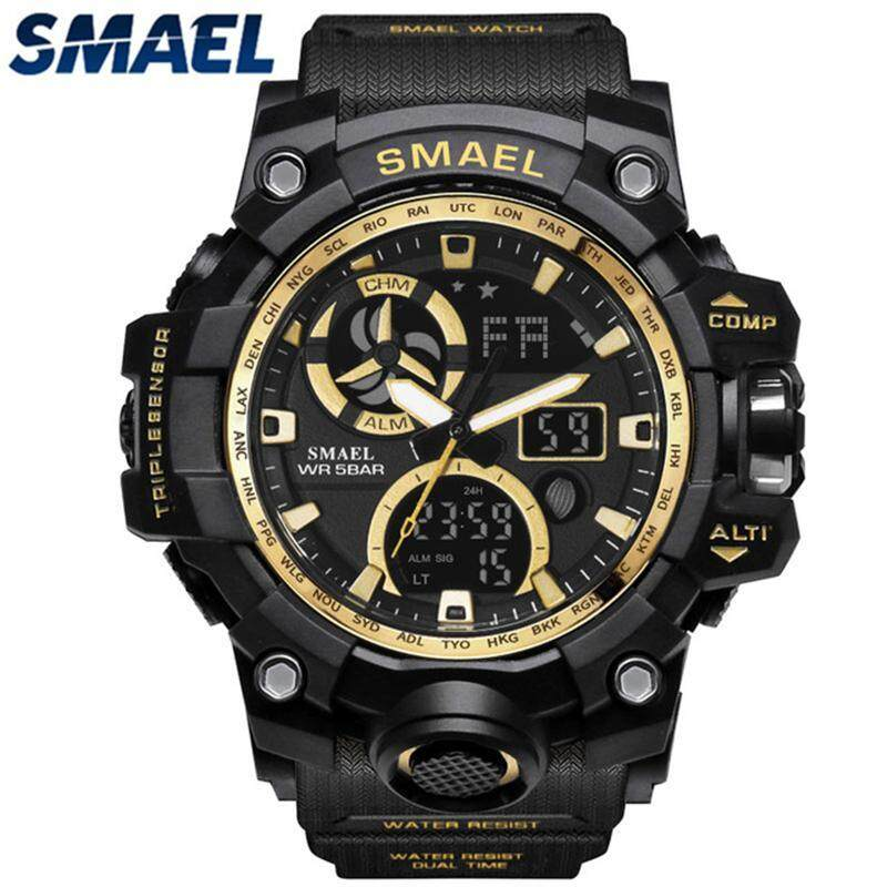 SMAEL Brand Mens Sport Watches LED Digital Dual Display Electronic Watch Men Fashion Shock Resistant Waterproof Military Watch Malaysia