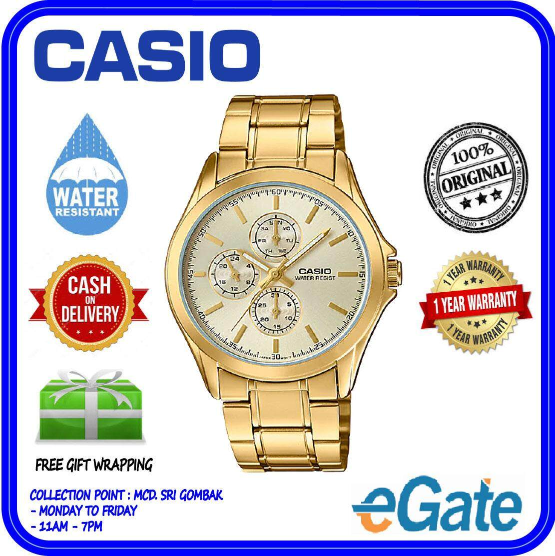 ( 2 YEARS WARRANTY ) Casio MTP-V302G-9A Men Analog Date Day Indicator Classic Gold Stainless  Steel Strap Casual Original Watch (MTP-V302G) Malaysia