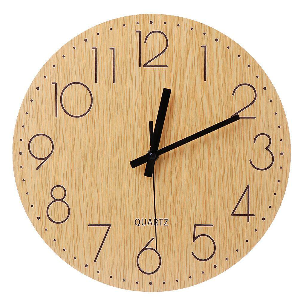 Silent Wooden Wall Clock Vintage Style Non-ticking Arabic Numerals Design  Decors f12151310c