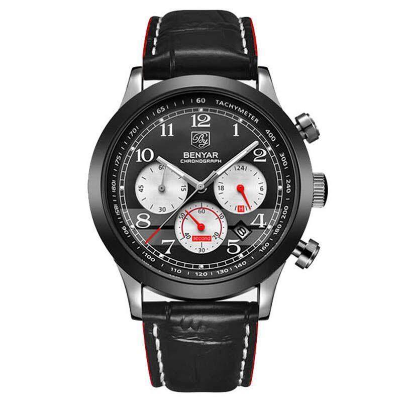 BENYAR Fashion Leather Sports Quartz Watch Waterproof Analog Watch Male Clock Men's Watch Black Red