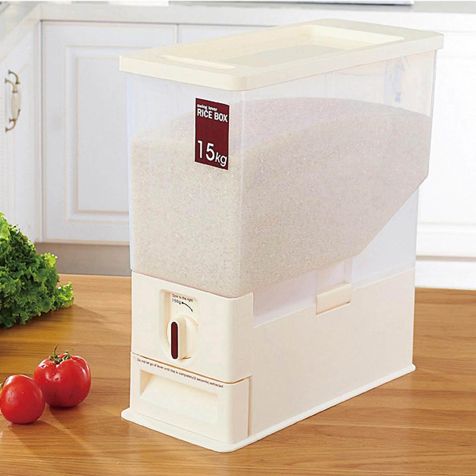 Nava 15 Kg Kitchen Dry Food Rice Dispenser Plastic Container Auto Organizer Set