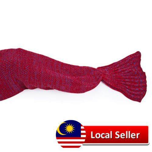 ADULTS KNITTED MERMAID TAIL BLANKET SOFT SLEEPING BAG (RED)