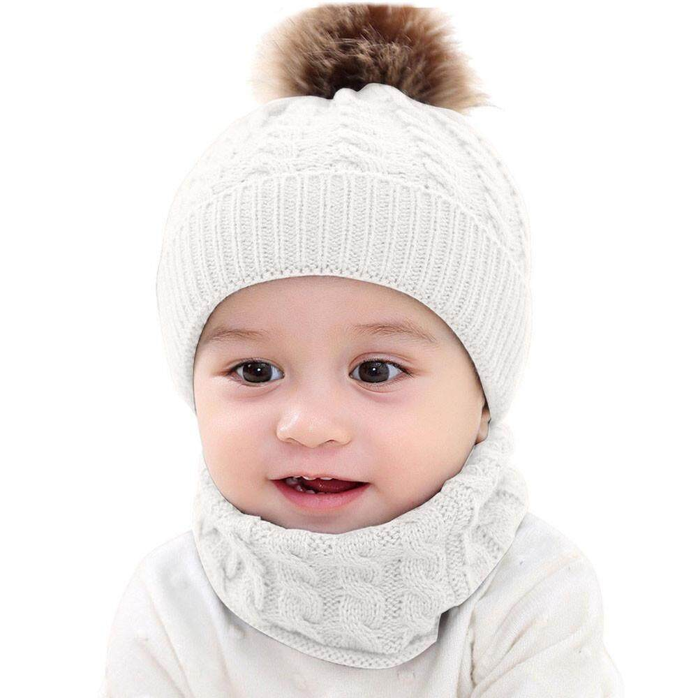 8781e9c3542  Free Shipping  Baby Children Warm Winter Hairball Knitted Beanie Hat Cap+Scarf  Set