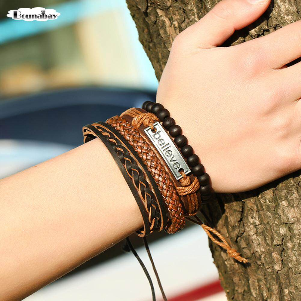 Believe Trade Leather Suit Mens Bracelet Hand Rope Retro Woven Leather Jewelry Malaysia