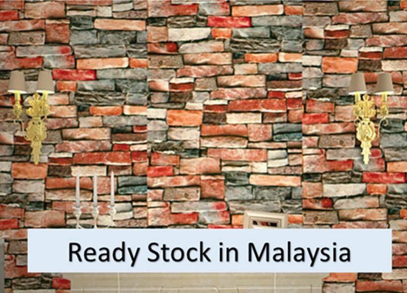 3D Stone Brick Wallpaper Self Adhesive 45cm x 1000cm (Ready Stock, Fast Delivery) Home Decor