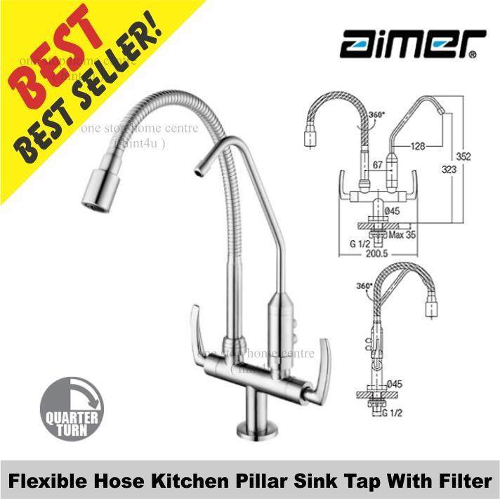 Aimer AMFC 1960F Flexible Hose Kitchen Pillar Sink Tap With Filter