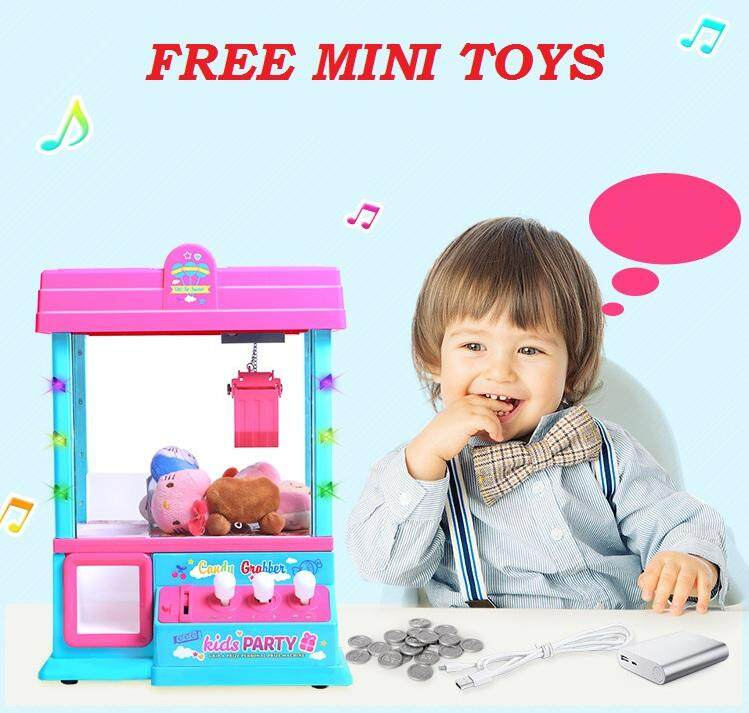Mini Children Lucky Dip Game Ball Claw Machine With Music And Light Play Education Toys Refill With Nuts, Sweet, Toys - Yellow