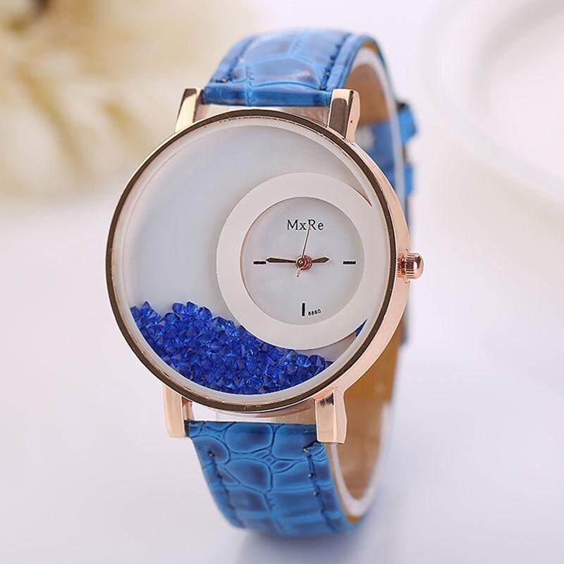 Inesshop Woman Leather Quicksand Rhinestone Quartz Bracelet Wristwatch Watch Bu By Inesshop.