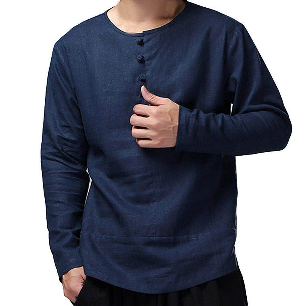 e5997db852b9 beautier Mens Chinese Kung Fu Solid Cotton Slim Long Sleeve Casual Smart  Shirt Top Blouse