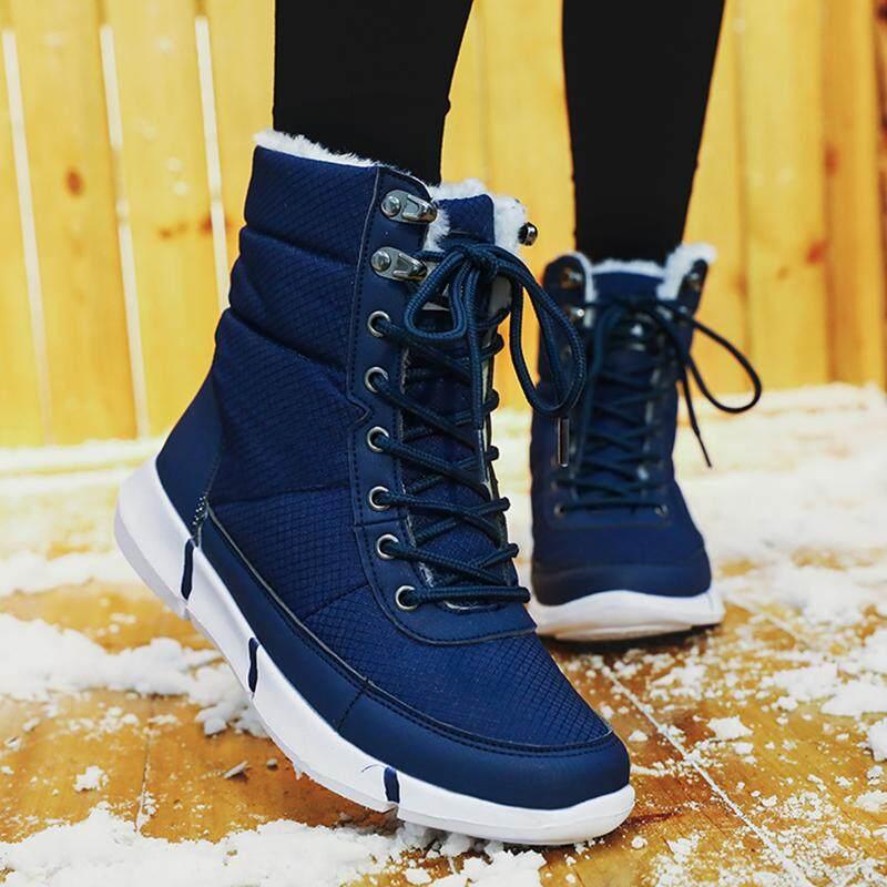 a66a5e46f01 EU36-48 Plus Size High Quality Unisex Men s Women s Snow Boots Plush Warm  Middle Boots