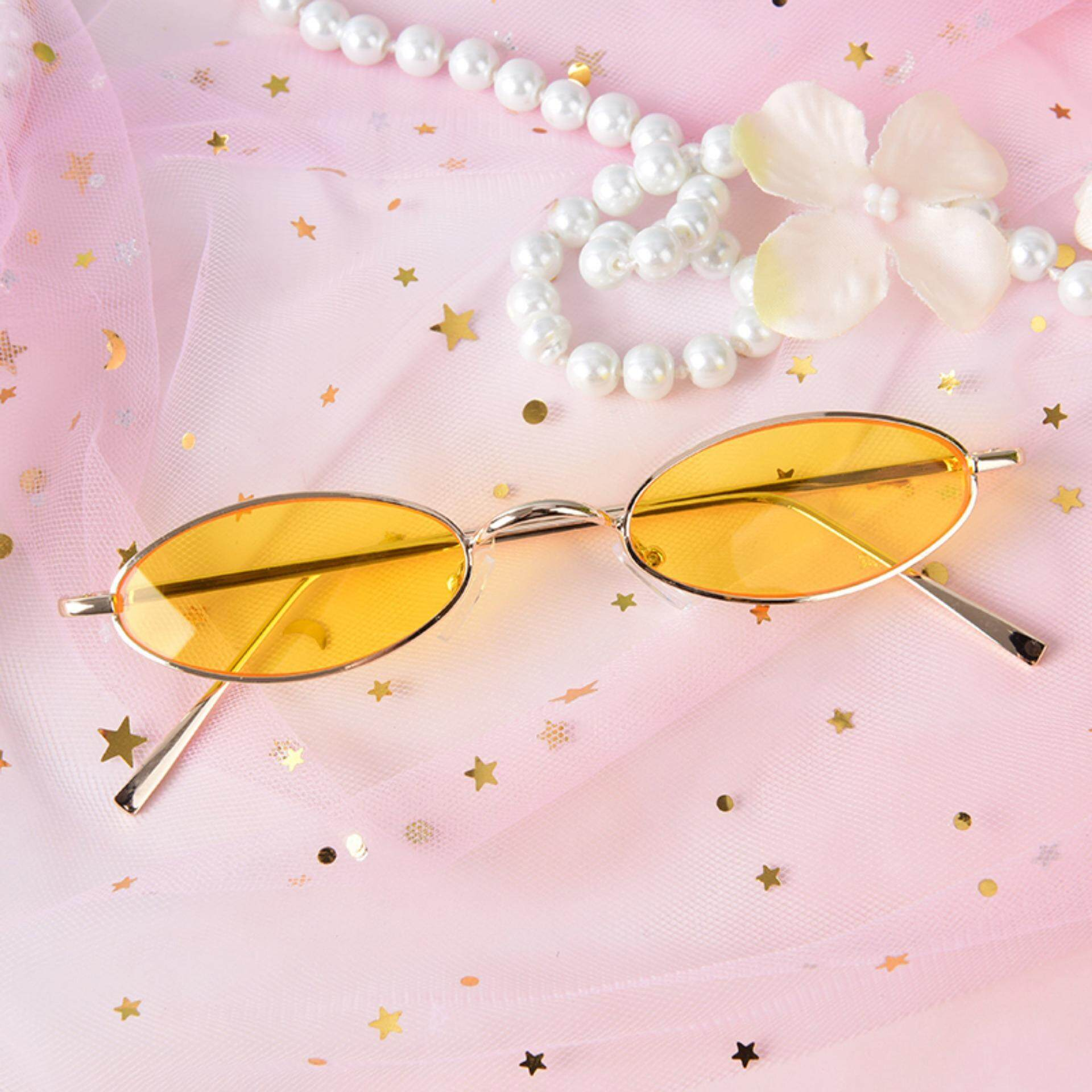 a7837ba80b3 Vintage Small Oval Metal Frame Sunglasses Women S Retro Shades Trendy  Glasses Gold   Yellow