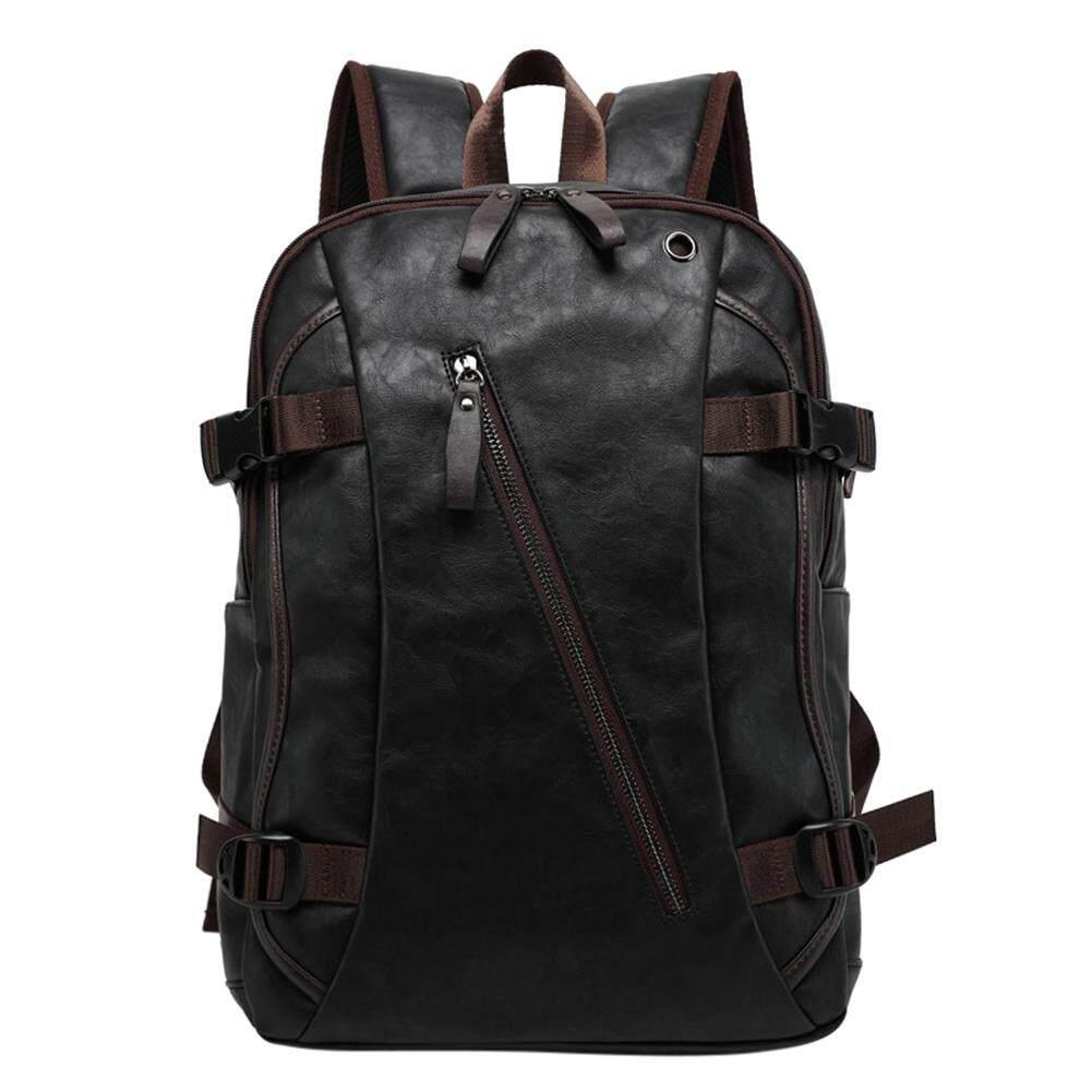 Men PU Leather Backpack Casual Bagfor Traveler School Student Laptop  CampingTravel Color Dark brown 5c55fb79dd