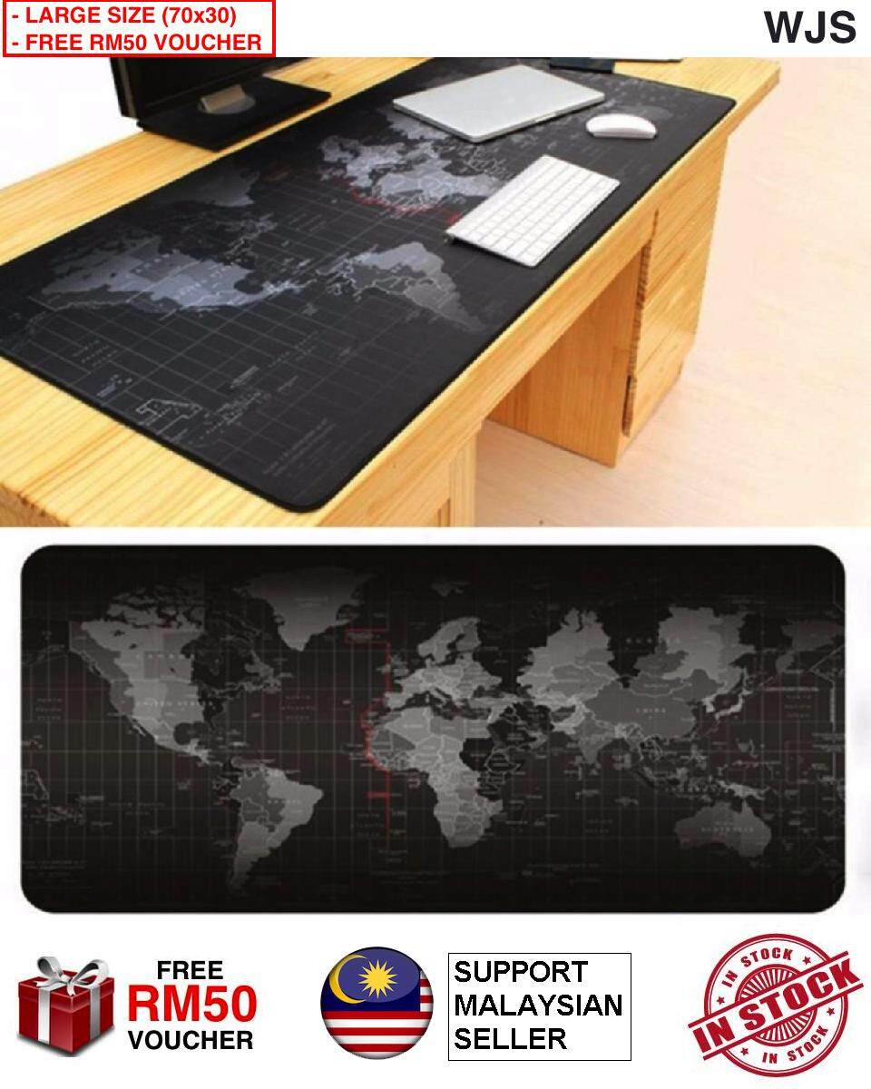(FREE RM50 VOUCHER) WJS Large Gaming Mouse Pad World Map 70 x 30CM Computer Rubber Pro Keyboard Mats Genuine Rubber Office Mouse Pad Mousepad (Black) Malaysia