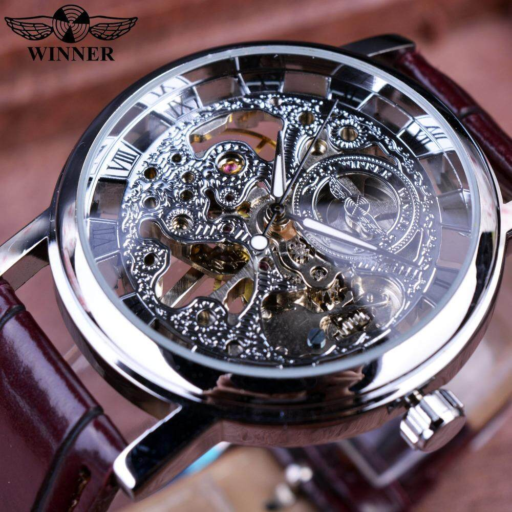 Brown Leather Strap Silver Case Transparent Case Men Watch Top Brand Luxury Mechanical Watch Clock Malaysia