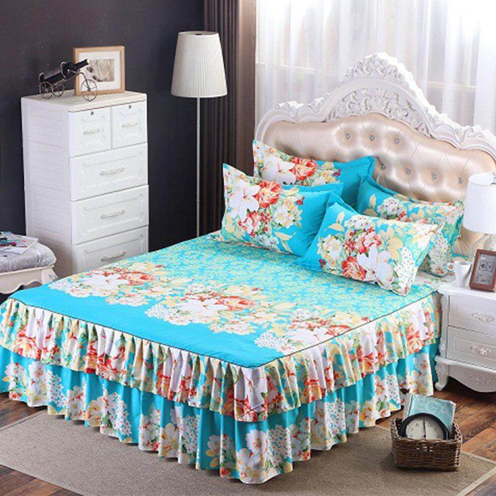 Coromose Floral Fitted Sheet Cover Graceful Bedspread Laced Fitted Sheet Bed Cover Skirt Wedding Housewarming Gift? Style:garland-Blue Dimensions:1.5x2 M Bed Skirt Single By Coromose.