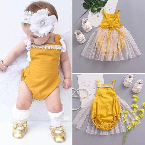 13a81b04c5dd Newborn Infant Kid Baby Girl Romper Tutu Skirt Dress Bodysuit Clothes  Outfits