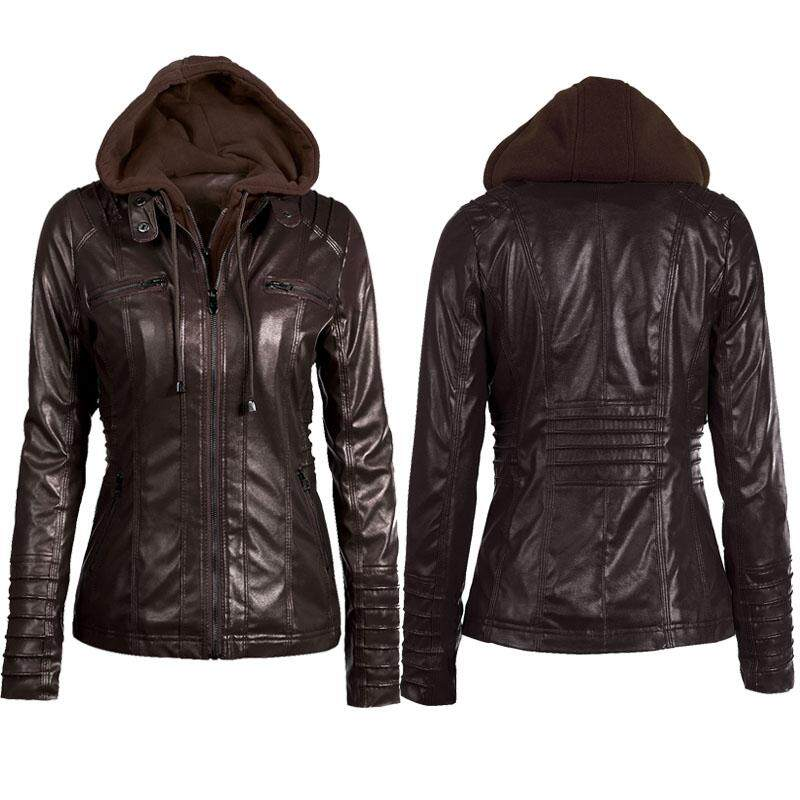 d922b341c4965 Plus Size Women Hooded PU Leather Jacket Detachable Long sleeve Bomber  Jacket Coat Winter Slim Zipper