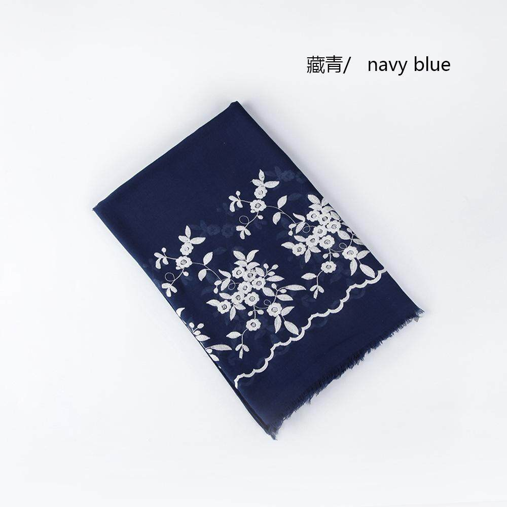 bd4360e73 2018 New Embroidered Wave Lace Scarf Women's Fashion Autumn Linen  Embroidered Flower Scarves