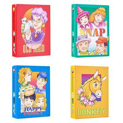 4 Unit/set Traditional Card Games (old Maid / Snap / Happy Family / Donkey) By Boboshoppe.
