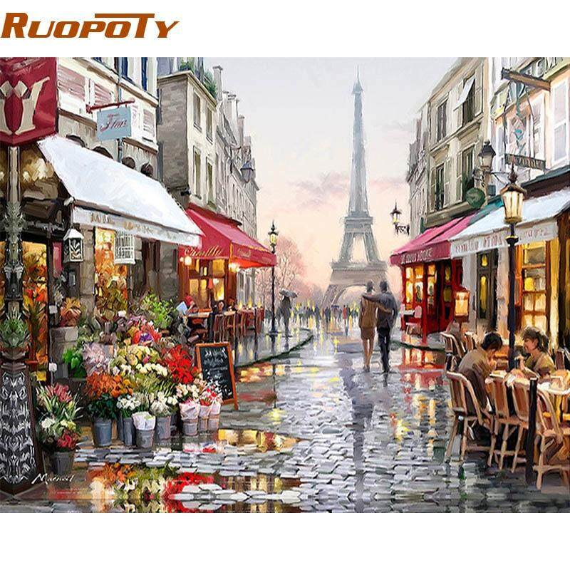 2018 Paris Street DIY Painting By Numbers Handpainted Canvas Painting Home Wall Art Picture For Living Room Unique Gift 40X50