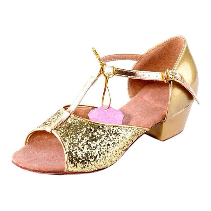 Santsiwei New Arrival Ballroom Dance Shoes For Women And Kids Latin Shoes Heel High 3.5cm-Paillette Gold,9 By Greatbuy888.