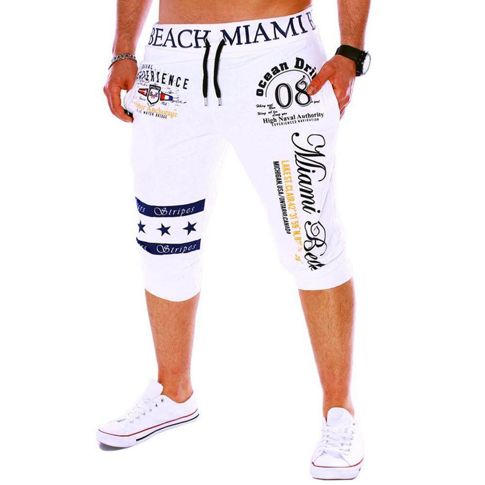 ViviMall Fashion New Men's Pants Drawstring Elastic Waist Printing Loose Sports Pants