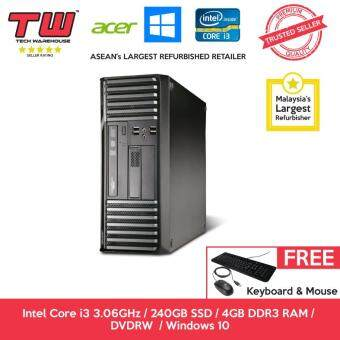 Acer S680G Core i3 3.06 GHz / 4GB DDR3 RAM / 240GB SSD / Windows 10 Home Desktop PC / 3 Months Warranty (Factory Refurbished)
